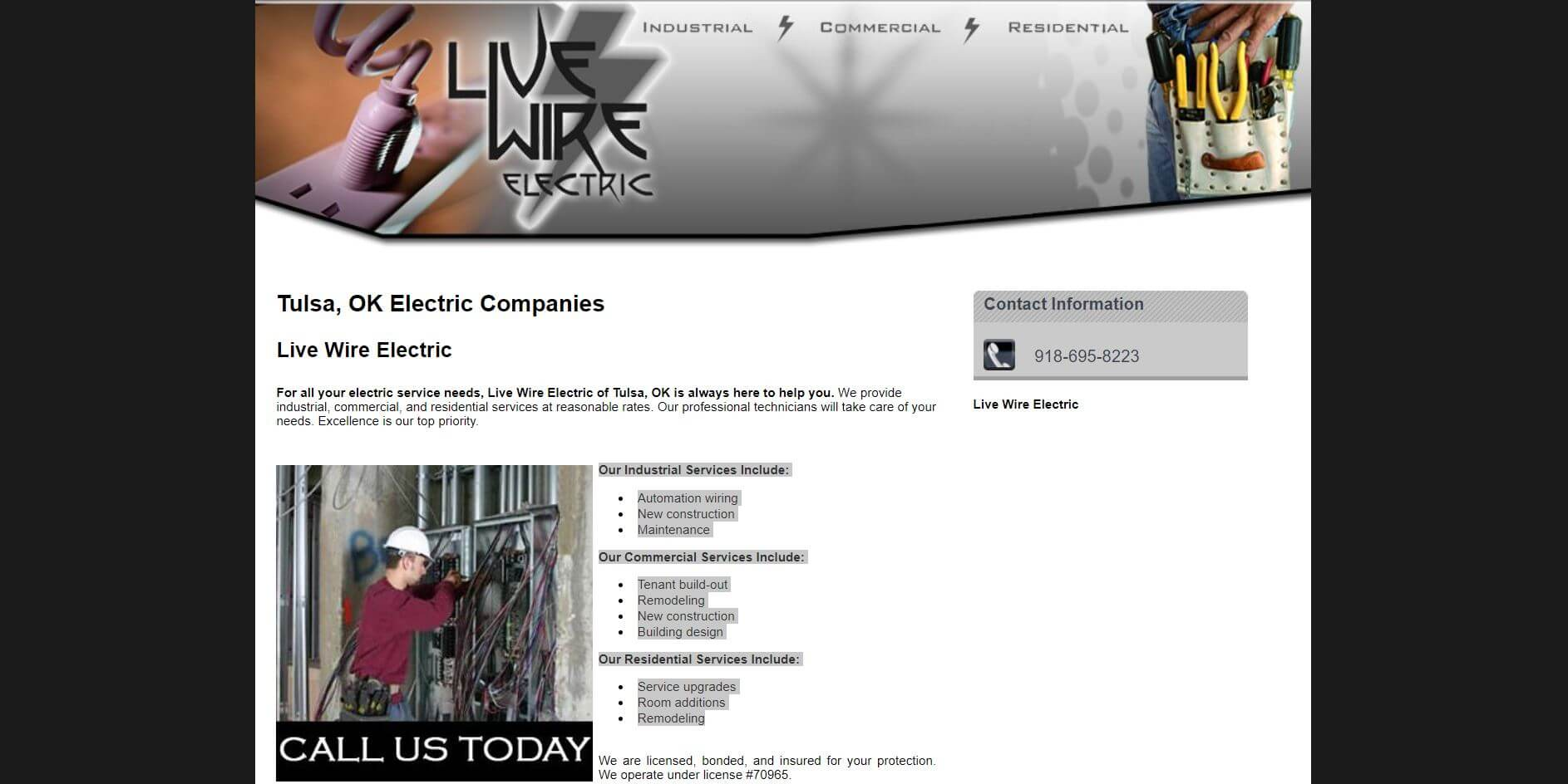 live wire electric electrician in tulsa 1