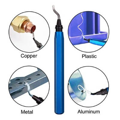 Deburring tool removing burrs from copper, plastic, metal, and aluminium